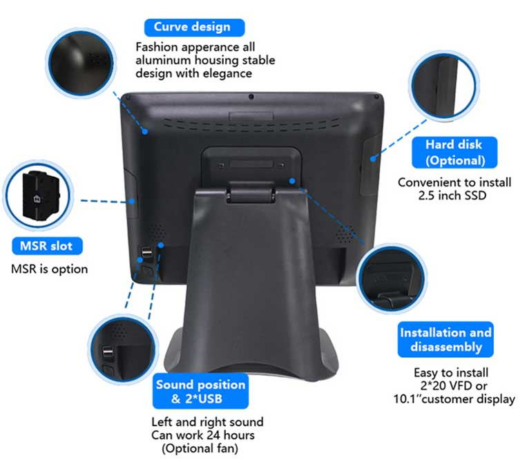 15 inch touch screen point of sale terminal